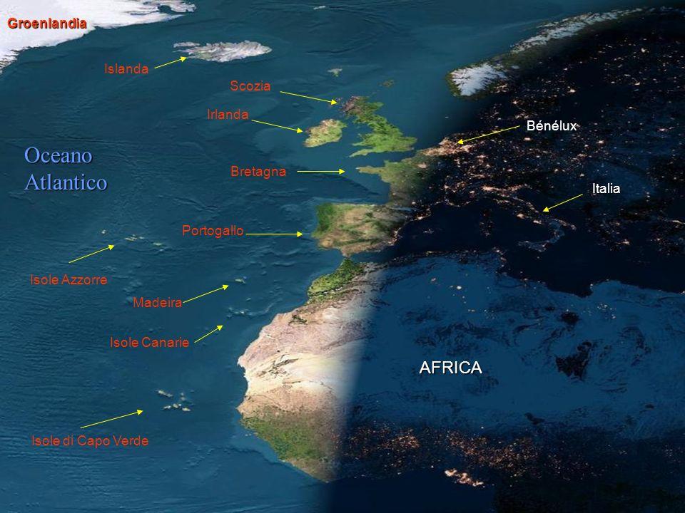Oceano Atlantico AFRICA Groenlandia Islanda Scozia Irlanda Bénélux