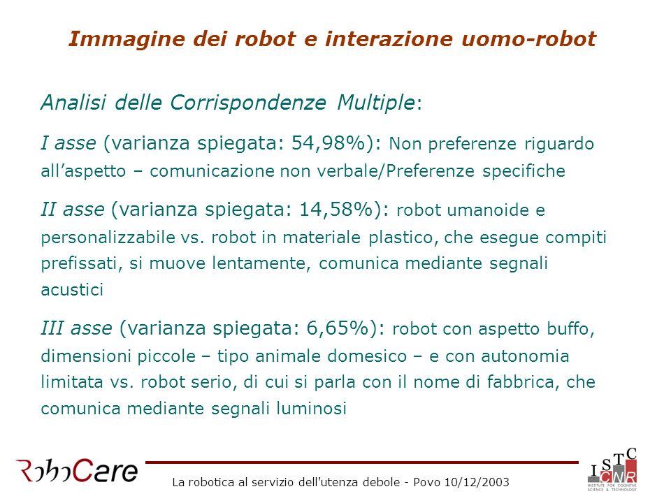 La robotica al servizio dell utenza debole - Povo 10/12/2003