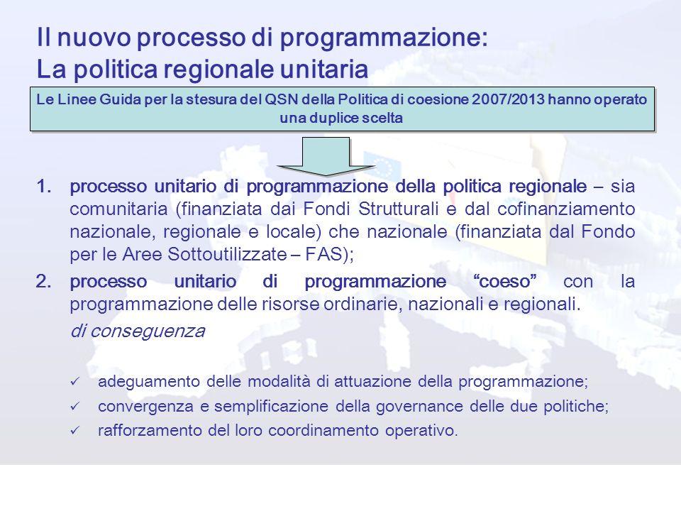 Il nuovo processo di programmazione: La politica regionale unitaria