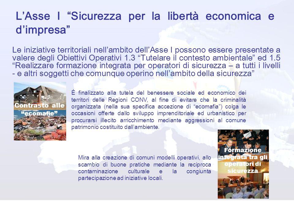 L'Asse I Sicurezza per la libertà economica e d'impresa