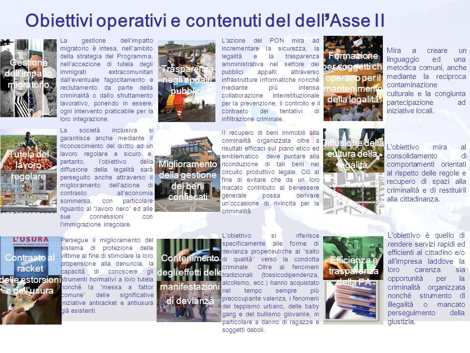 Obiettivi operativi e contenuti del dell'Asse II