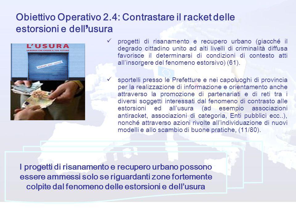 Obiettivo Operativo 2.4: Contrastare il racket delle estorsioni e dell'usura