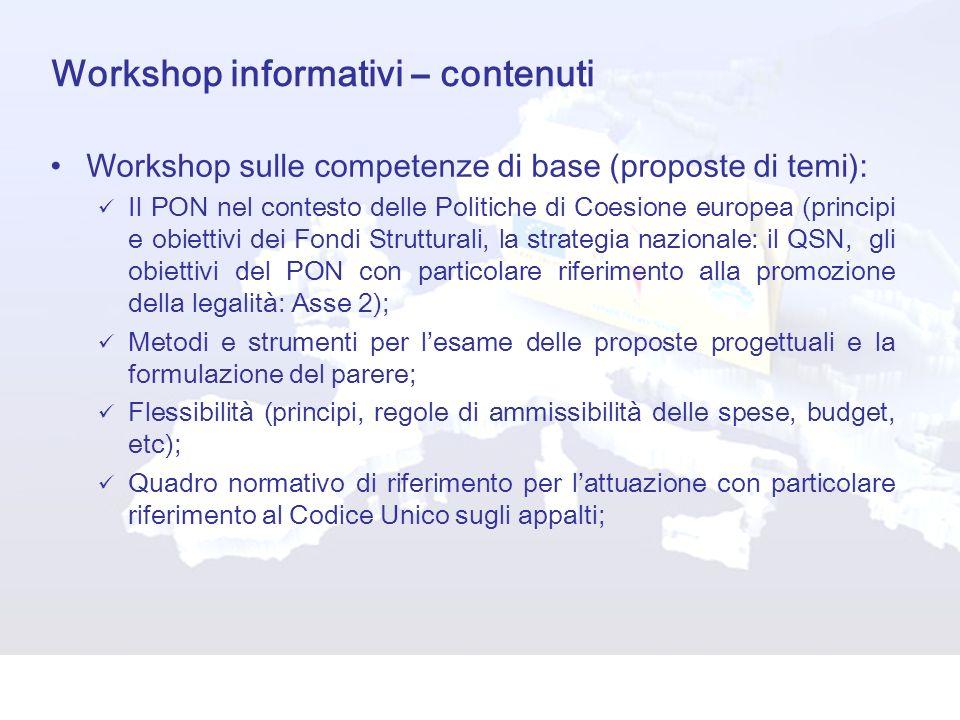 Workshop informativi – contenuti