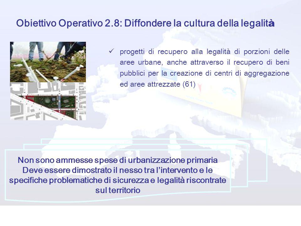Obiettivo Operativo 2.8: Diffondere la cultura della legalità
