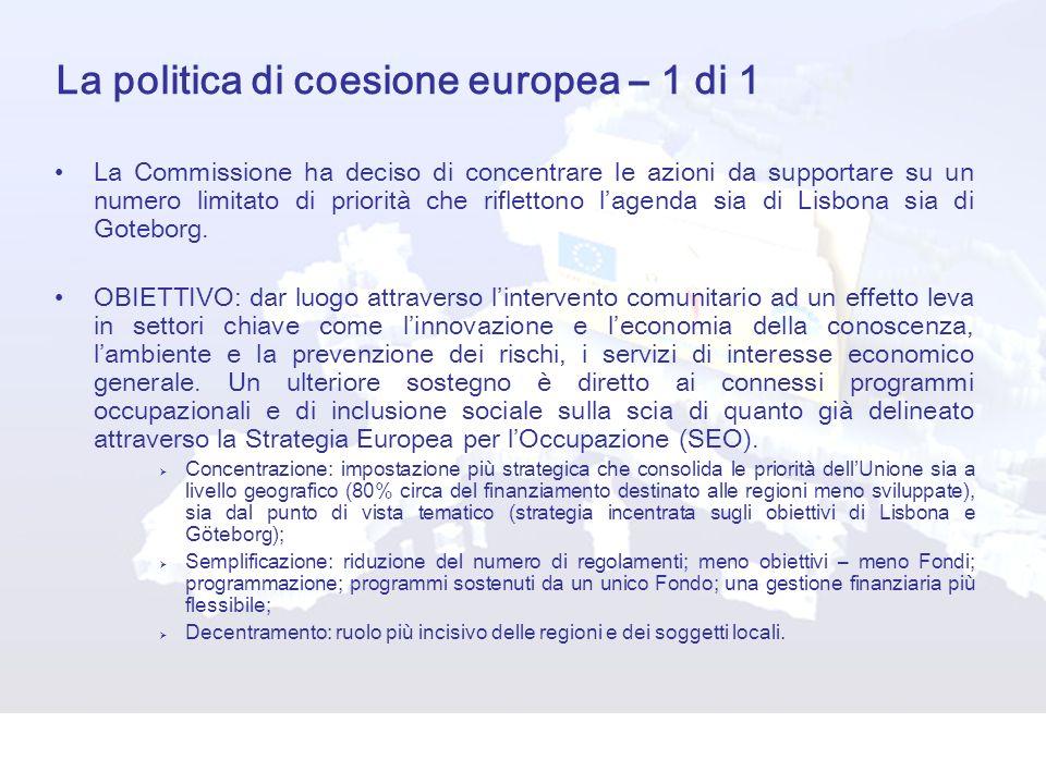 La politica di coesione europea – 1 di 1