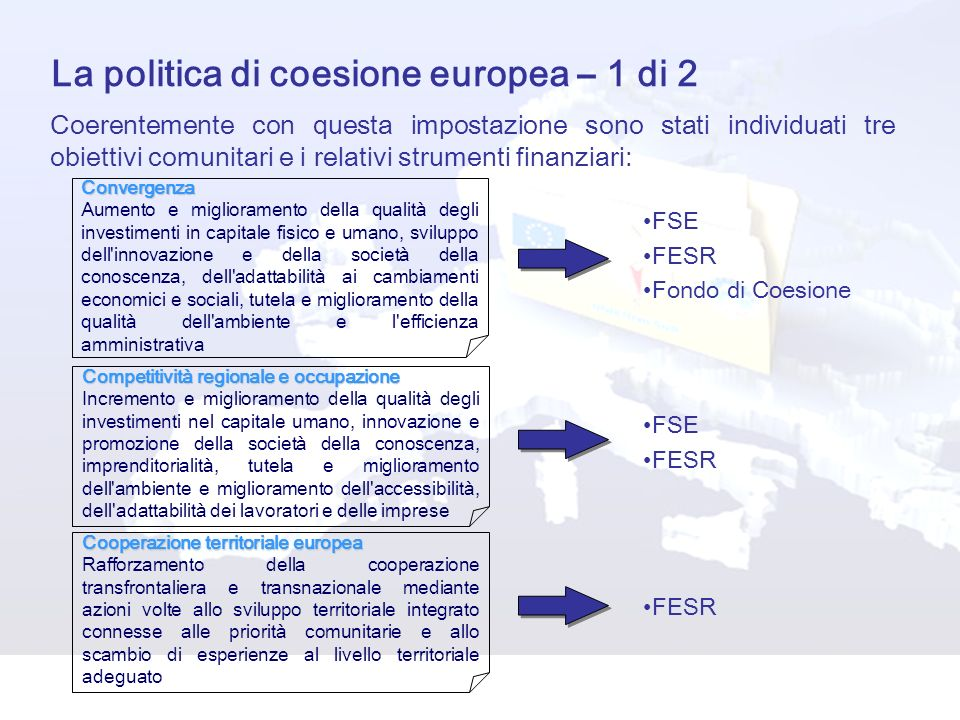 La politica di coesione europea – 1 di 2