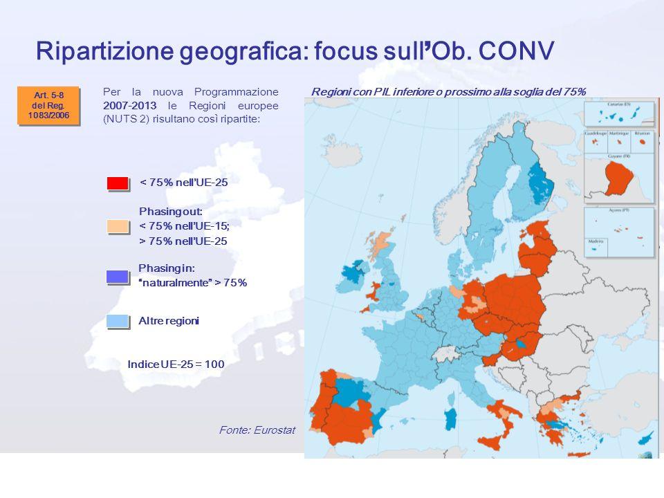Ripartizione geografica: focus sull'Ob. CONV