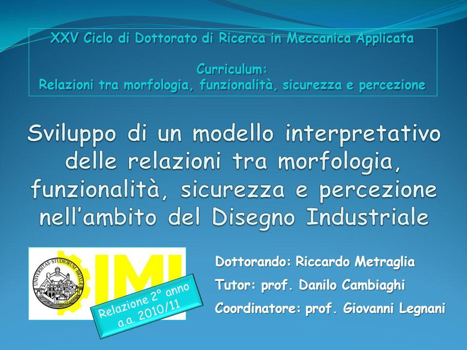 XXV Ciclo di Dottorato di Ricerca in Meccanica Applicata Curriculum: Relazioni tra morfologia, funzionalità, sicurezza e percezione
