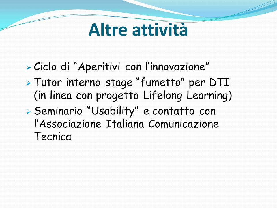Altre attività Ciclo di Aperitivi con l'innovazione