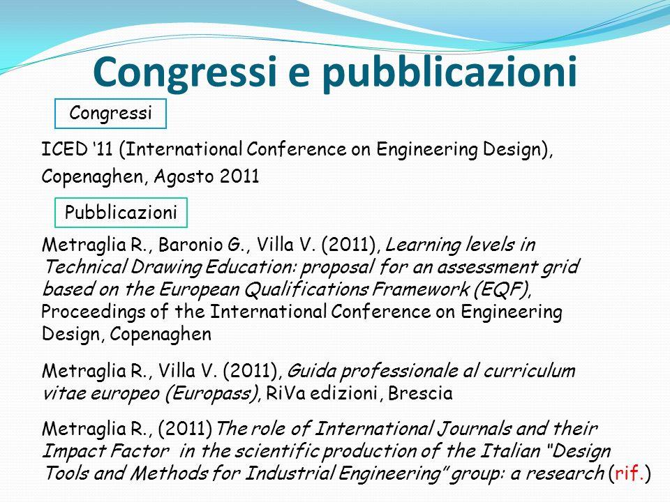 Congressi e pubblicazioni