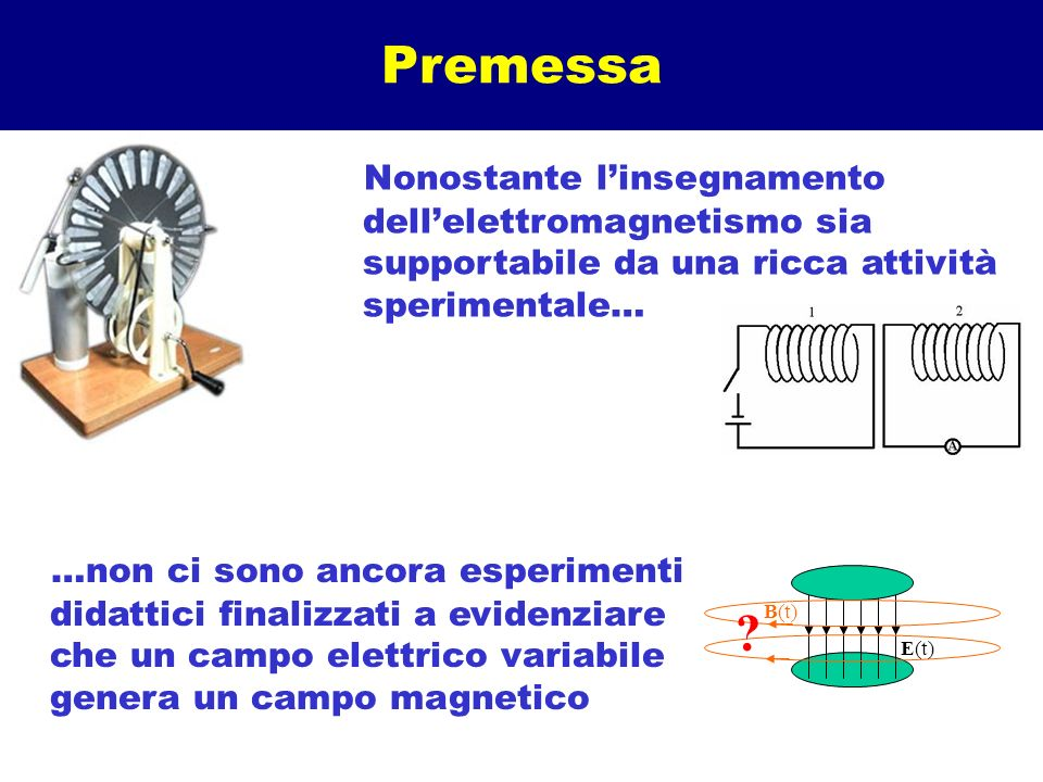 Premessa Nonostante l'insegnamento dell'elettromagnetismo sia supportabile da una ricca attività sperimentale…