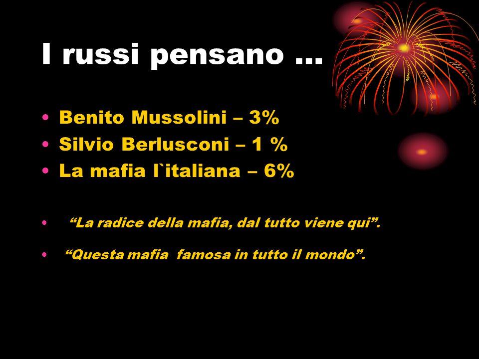 I russi pensano … Benito Mussolini – 3% Silvio Berlusconi – 1 %