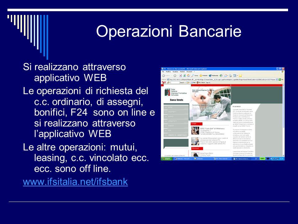 Operazioni Bancarie Si realizzano attraverso applicativo WEB