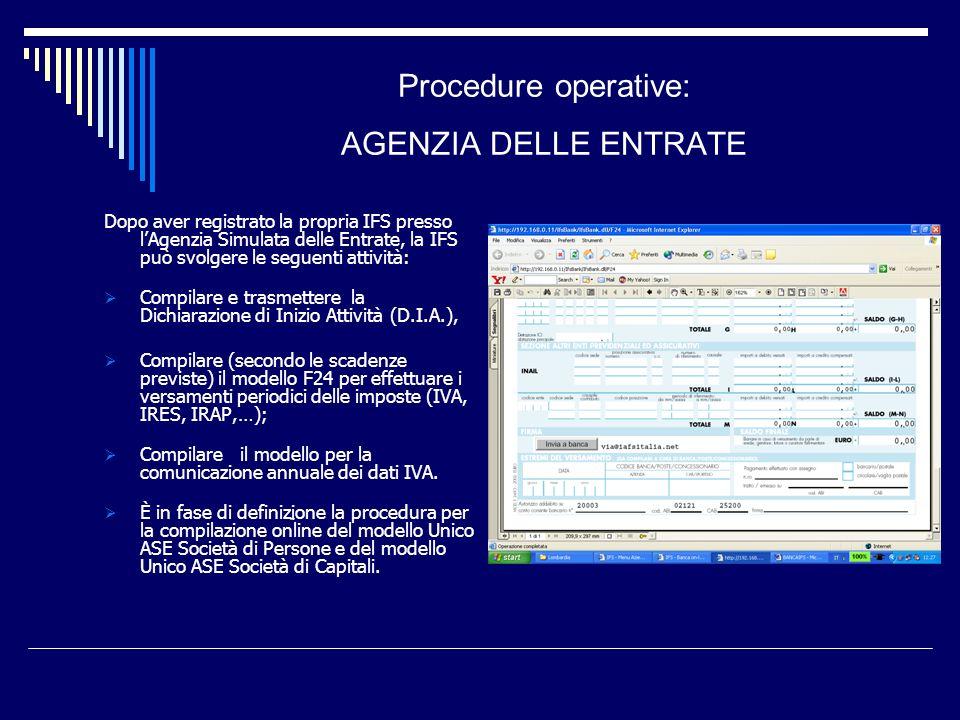 Procedure operative: AGENZIA DELLE ENTRATE