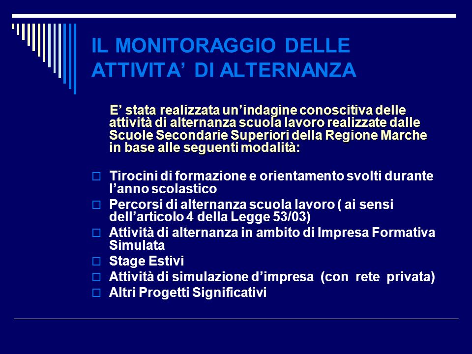 IL MONITORAGGIO DELLE ATTIVITA' DI ALTERNANZA
