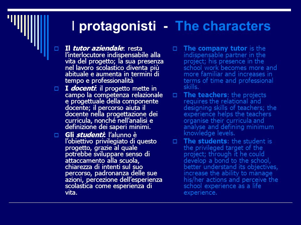 I protagonisti - The characters