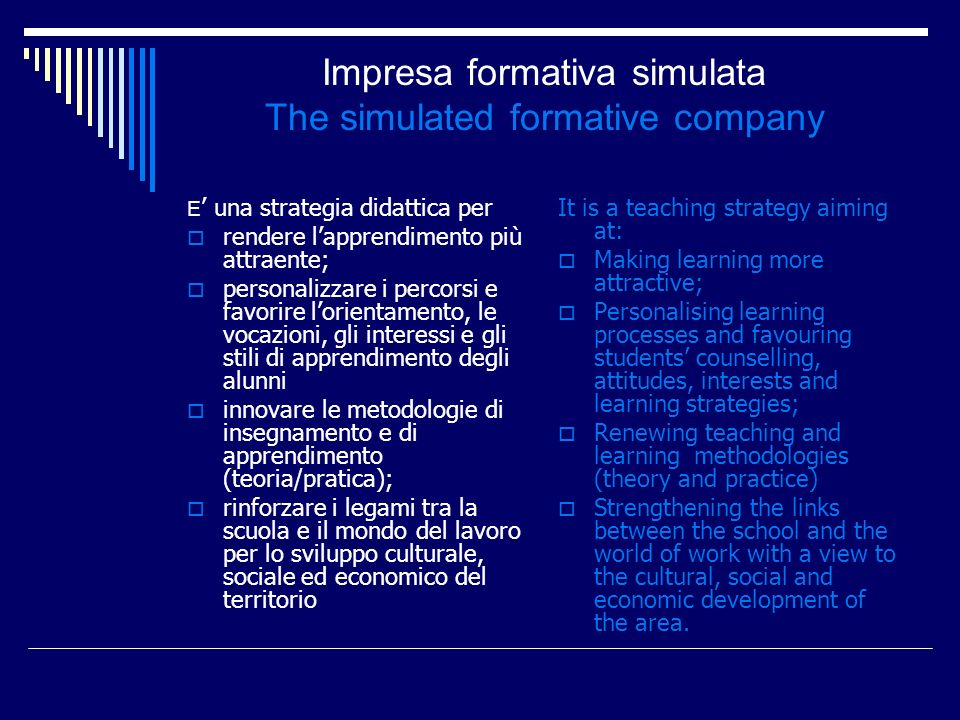 Impresa formativa simulata The simulated formative company