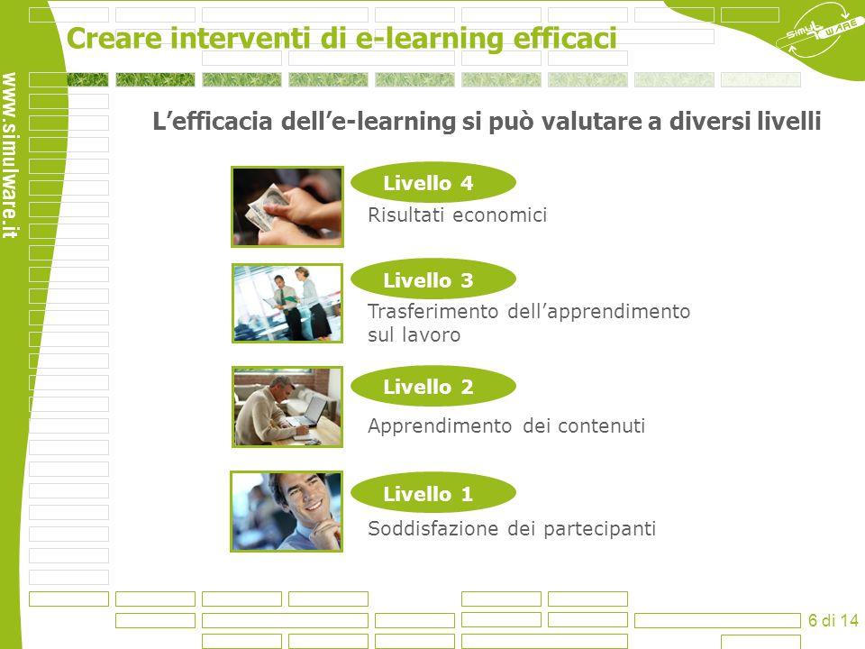 L'efficacia dell'e-learning si può valutare a diversi livelli