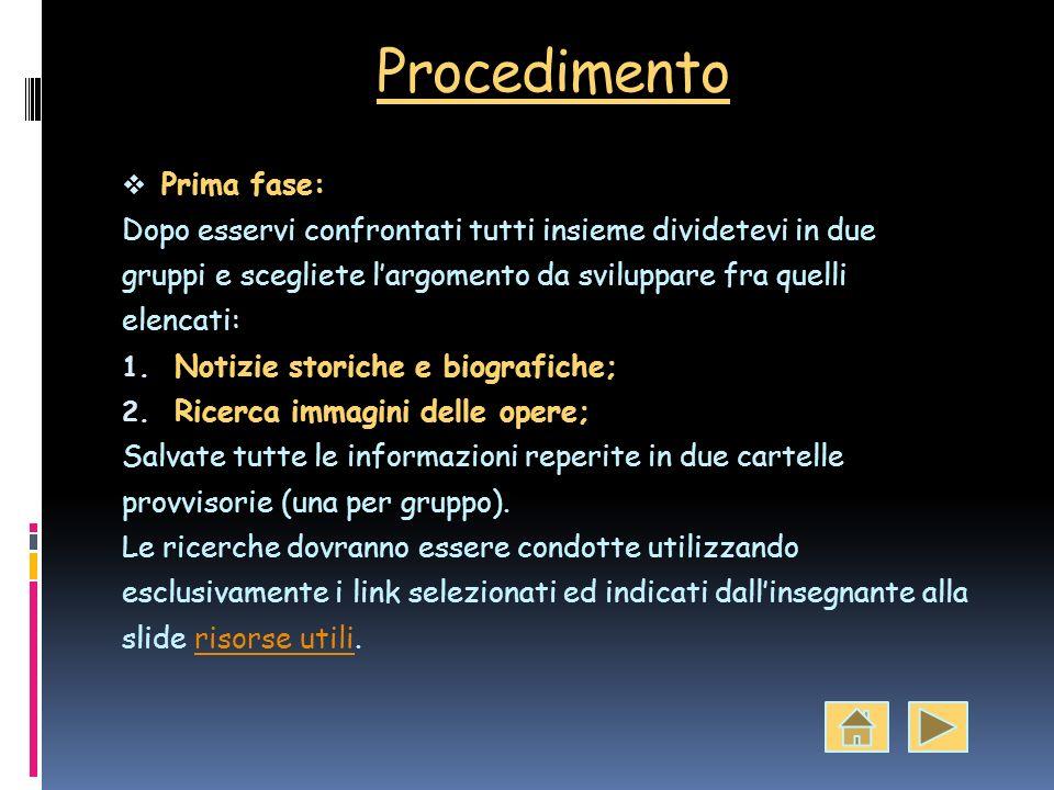 Procedimento Prima fase: