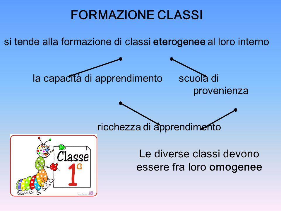 FORMAZIONE CLASSI Le diverse classi devono essere fra loro omogenee