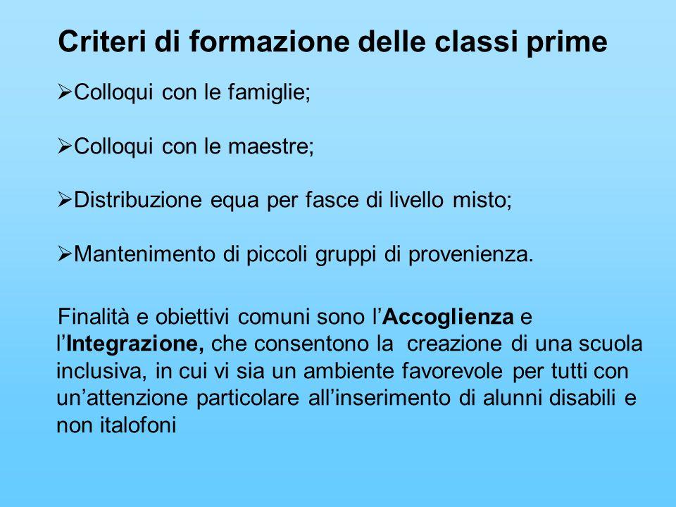Criteri di formazione delle classi prime