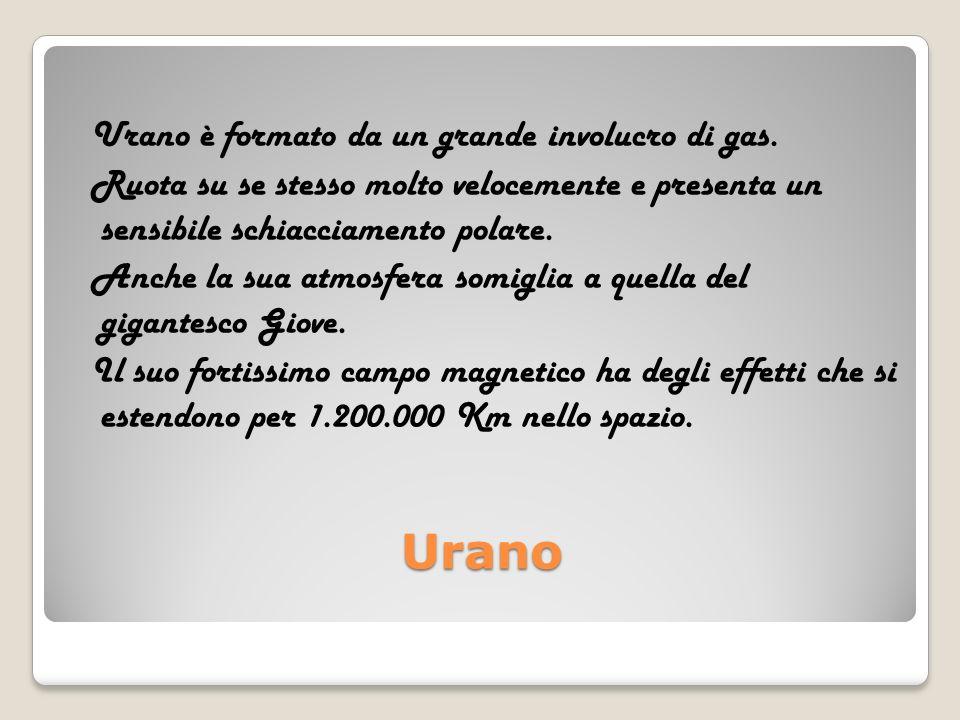 Urano Urano è formato da un grande involucro di gas.