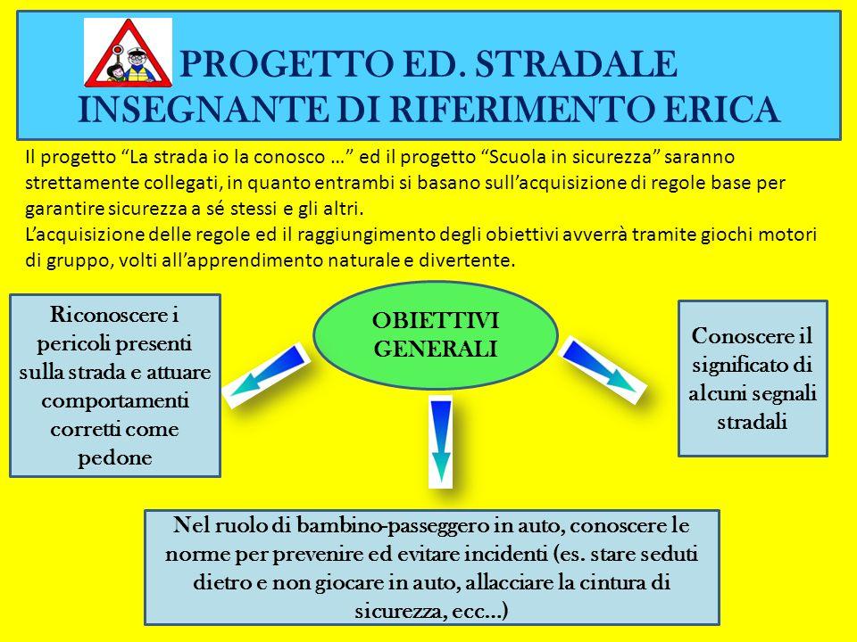 PROGETTO ED. STRADALE INSEGNANTE DI RIFERIMENTO ERICA