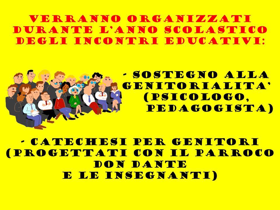 VERRANNO ORGANIZZATi DURANTE L'ANNO SCOLASTICO DEGLI INCONTRI EDUCATIVI: - SOSTEGNO ALLA GENITORIALITA' (PSICOLOGO, PEDAGOGISTA) - CATECHESI PER GENITORI (PROGETTATI CON IL PARROCO DON DANTE E LE INSEGNANTI)