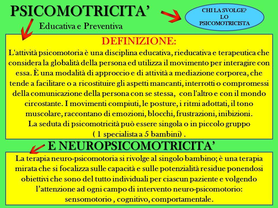 PSICOMOTRICITA' E NEUROPSICOMOTRICITA' DEFINIZIONE: