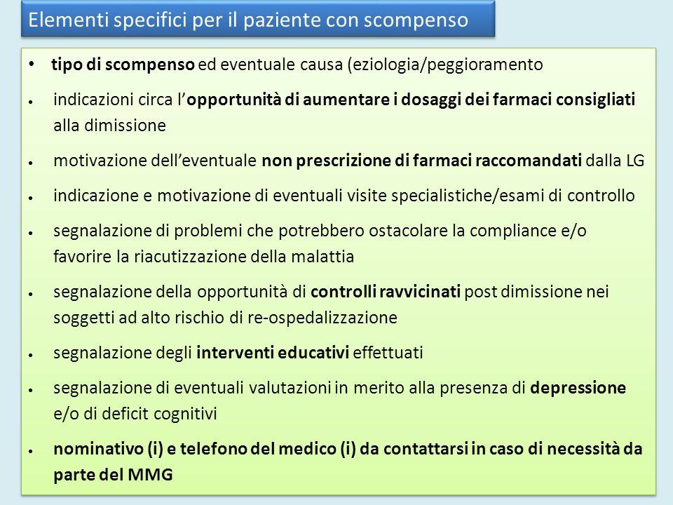 Elementi specifici per il paziente con scompenso