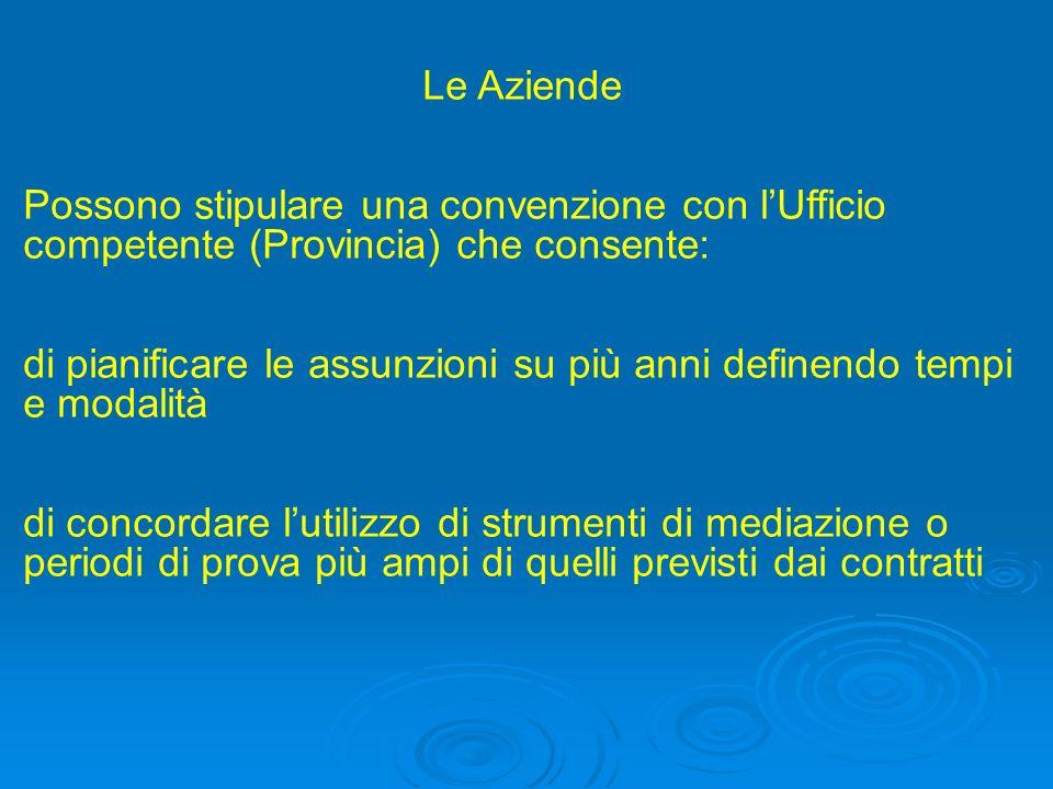 Le Aziende Possono stipulare una convenzione con l'Ufficio competente (Provincia) che consente: