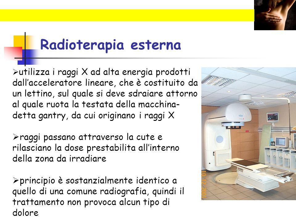 Radioterapia esterna un lettino, sul quale si deve sdraiare attorno