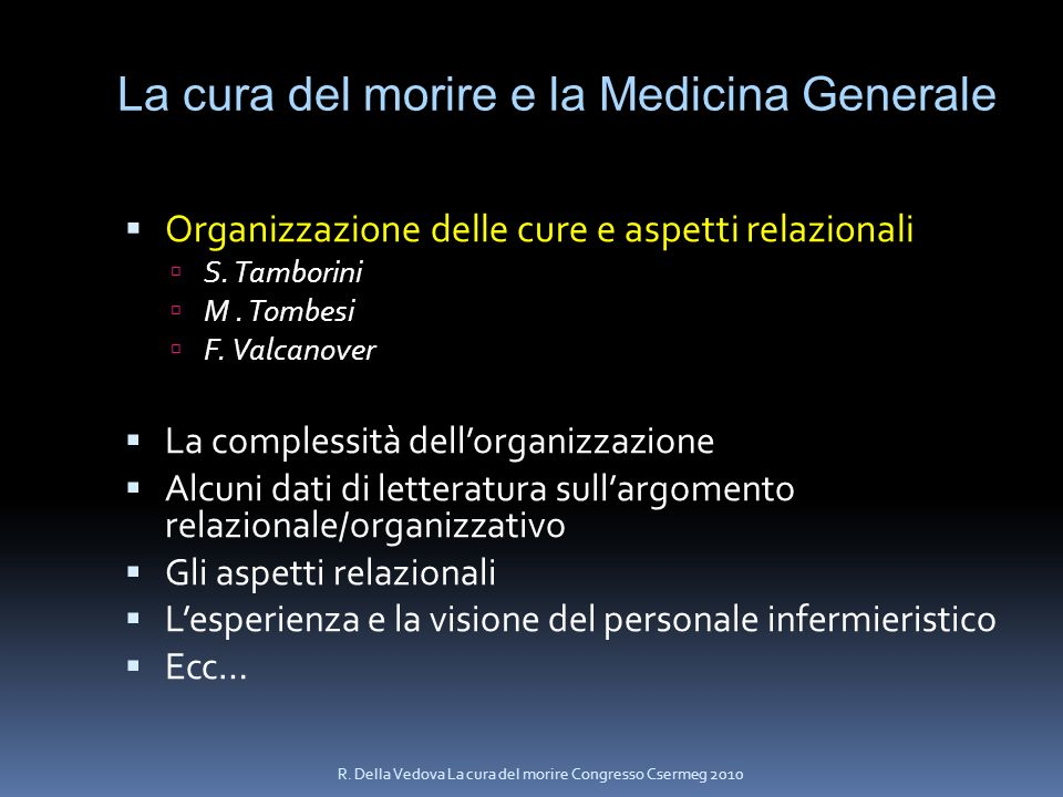 La cura del morire e la Medicina Generale