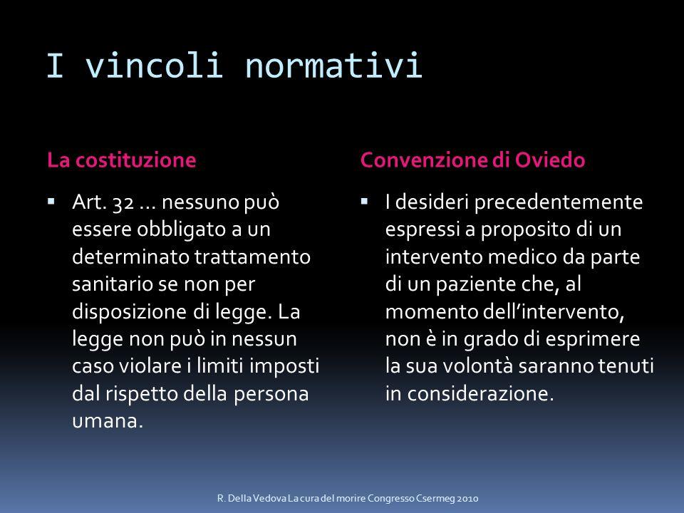 I vincoli normativi La costituzione Convenzione di Oviedo