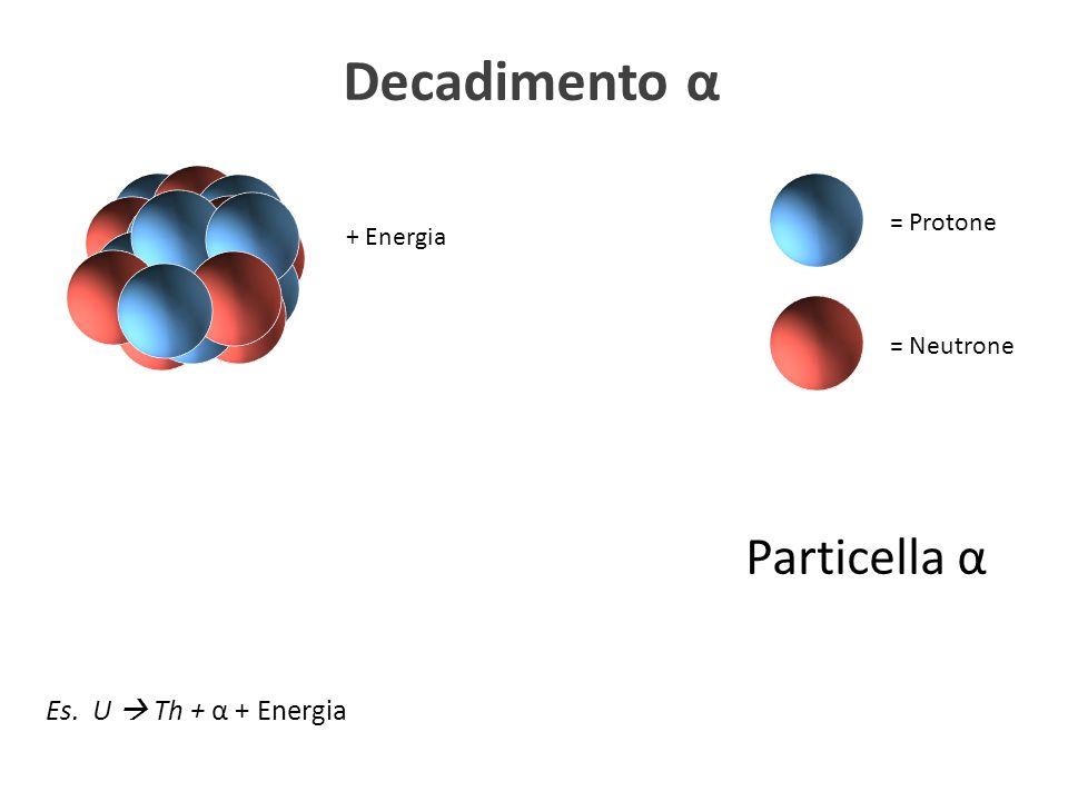 Decadimento α Particella α Es. U  Th + α + Energia = Protone