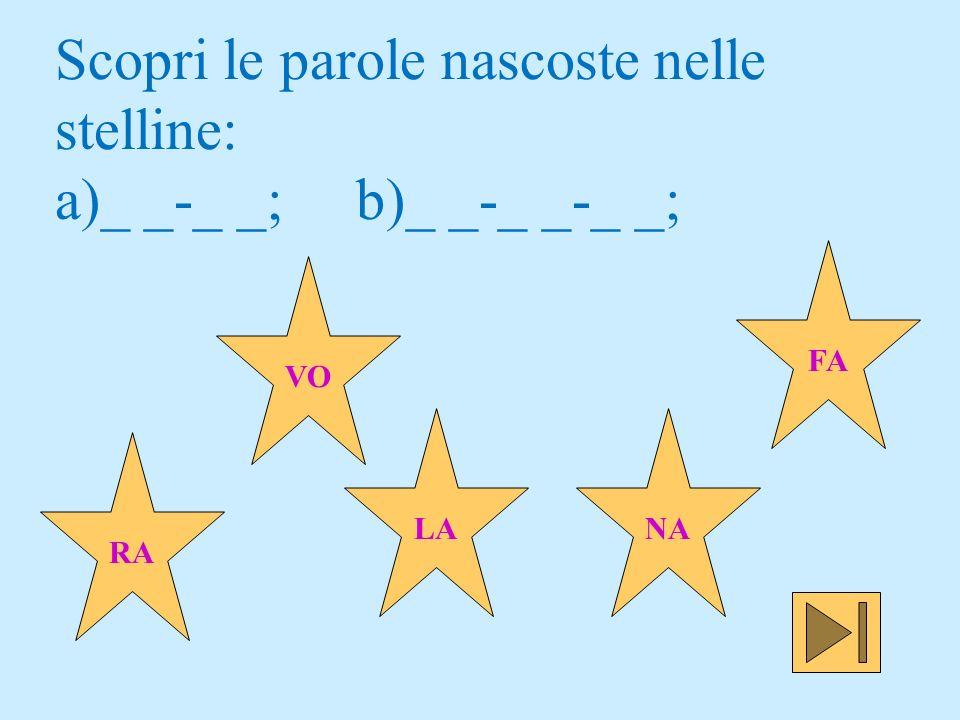 Scopri le parole nascoste nelle stelline: a)_ _-_ _; b)_ _-_ _-_ _;