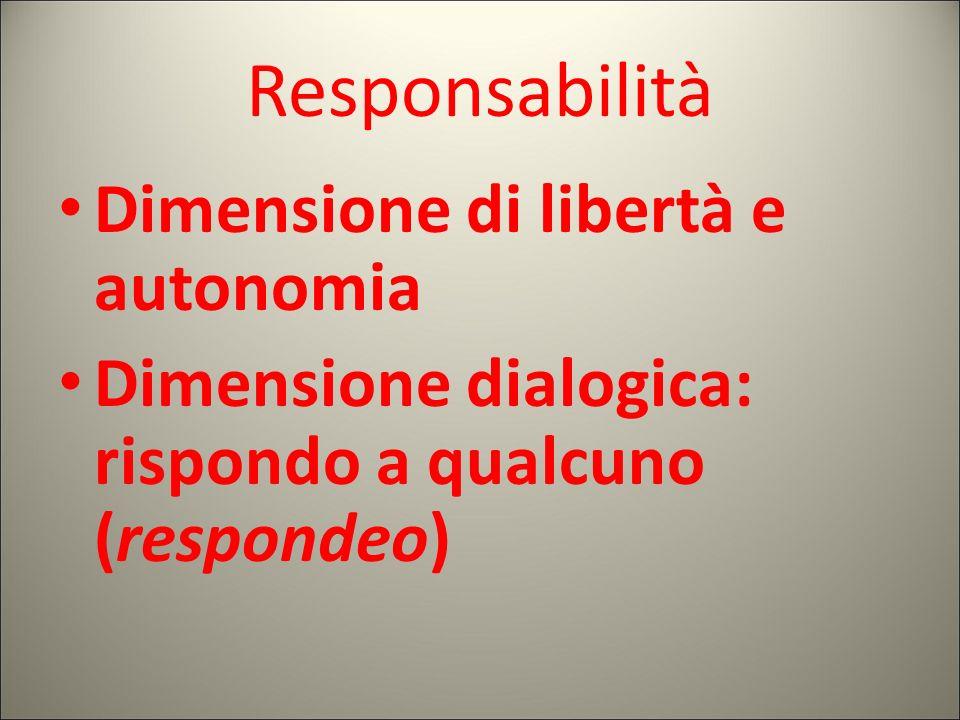 Responsabilità Dimensione di libertà e autonomia