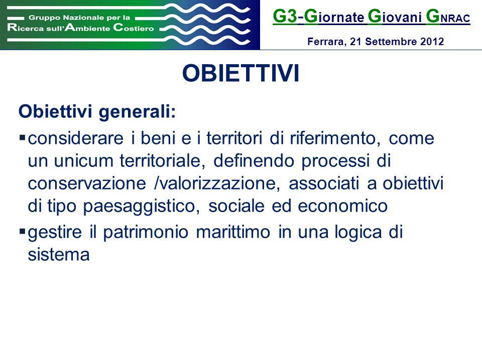 OBIETTIVI G3-Giornate Giovani GNRAC Obiettivi generali: