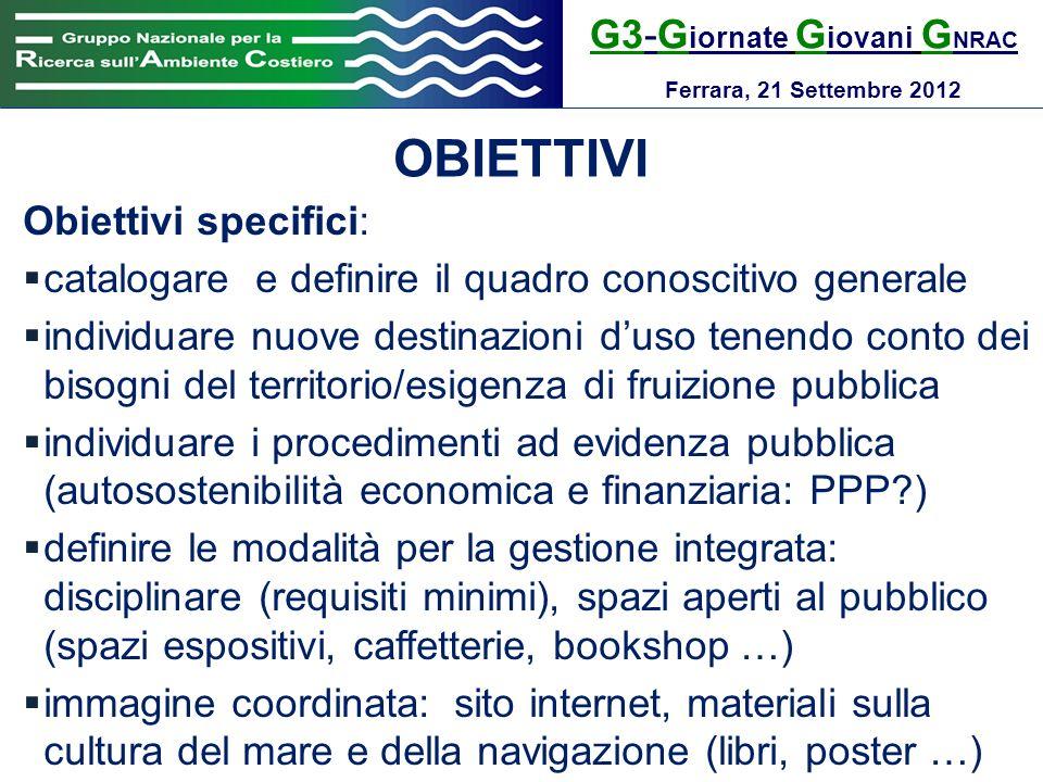 OBIETTIVI G3-Giornate Giovani GNRAC Obiettivi specifici: