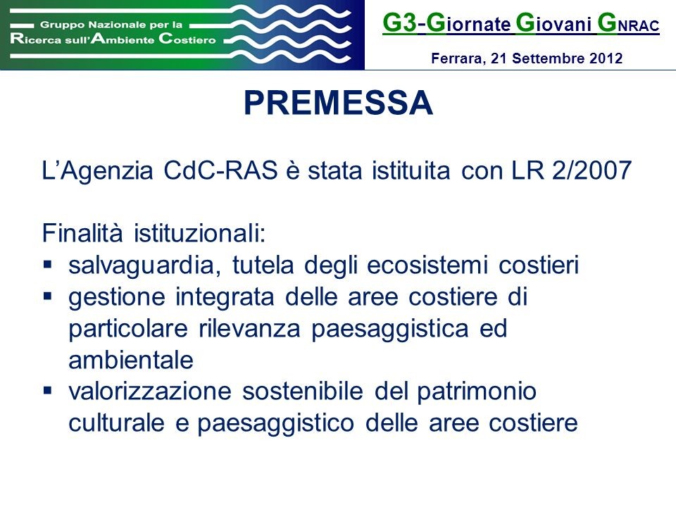 PREMESSA G3-Giornate Giovani GNRAC