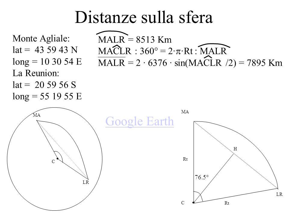 Distanze sulla sfera Google Earth Monte Agliale: MALR = 8513 Km