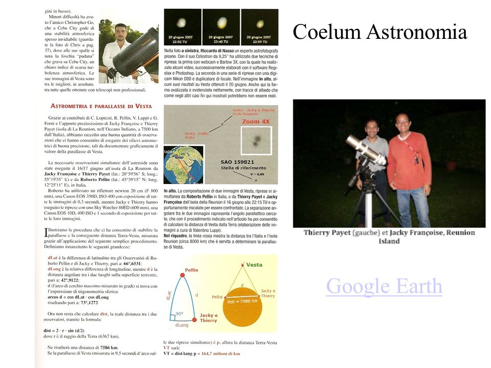 Coelum Astronomia Google Earth