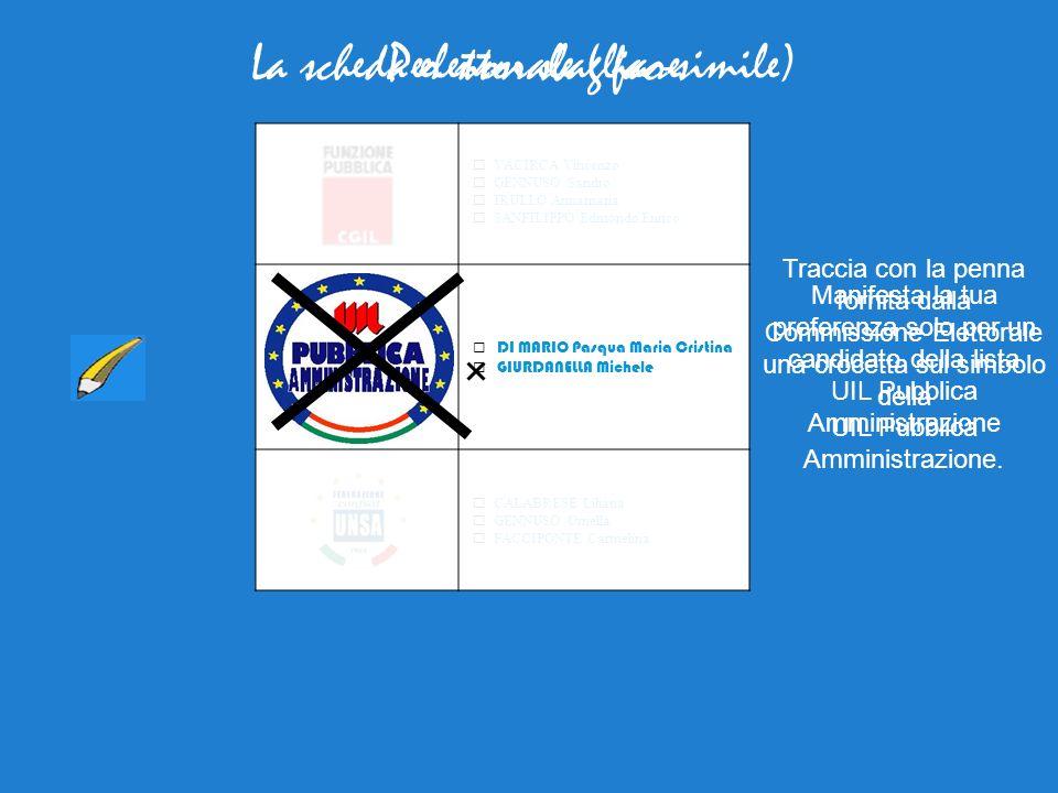 La scheda elettorale ( fac-simile)