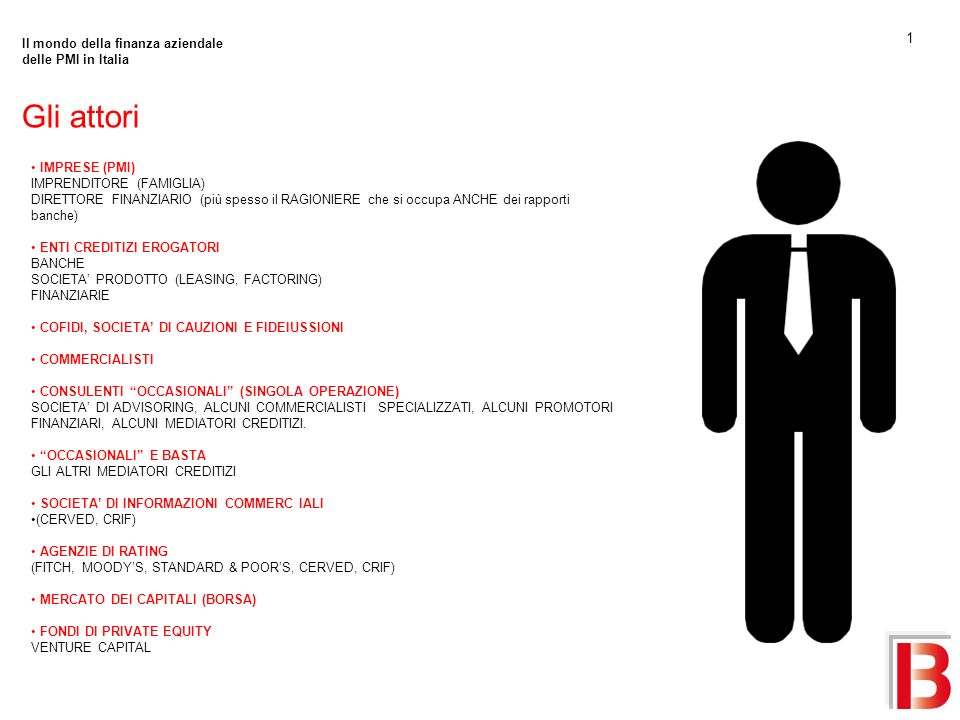 Gli attori 1 Il mondo della finanza aziendale delle PMI in Italia
