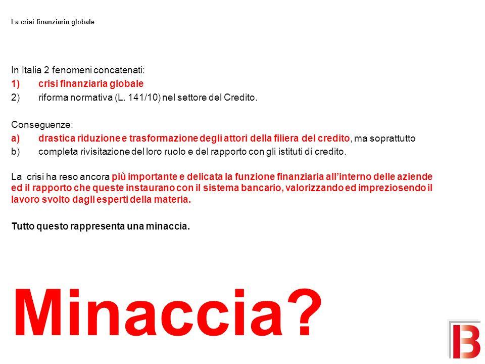 Minaccia In Italia 2 fenomeni concatenati: crisi finanziaria globale