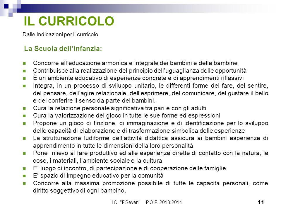 IL CURRICOLO Dalle Indicazioni per il curricolo La Scuola dell'infanzia: