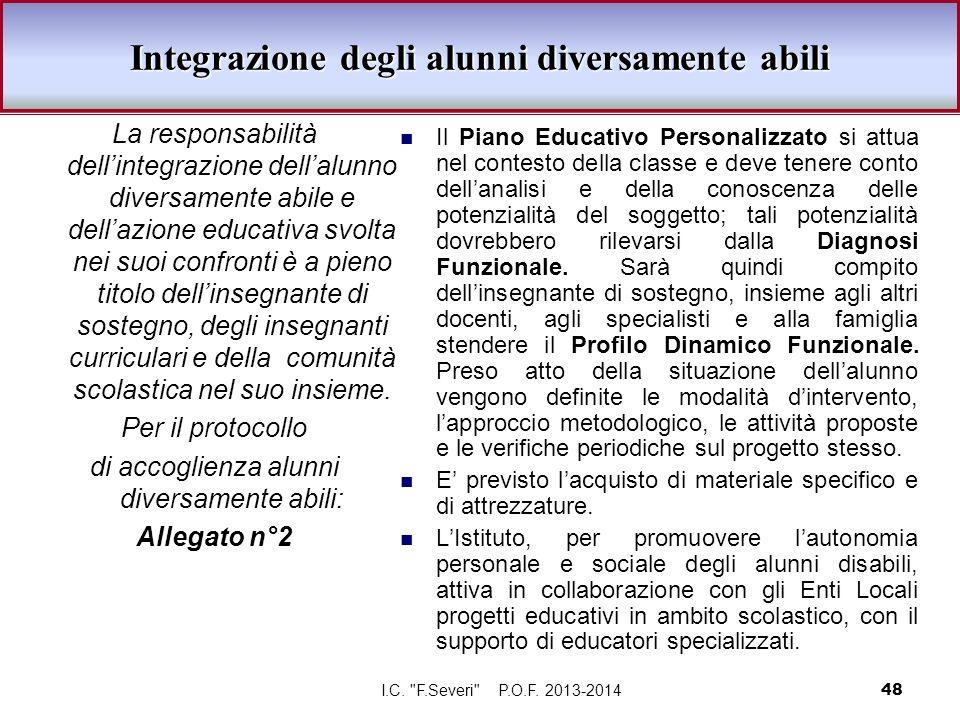 Integrazione degli alunni diversamente abili