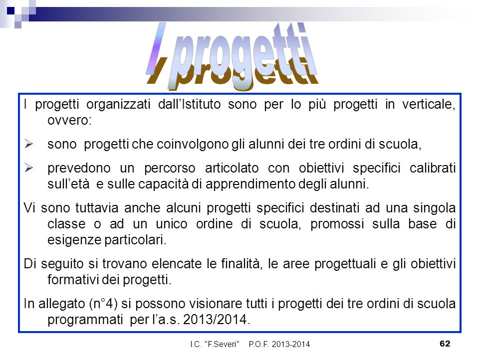 I progetti I progetti organizzati dall'Istituto sono per lo più progetti in verticale, ovvero: