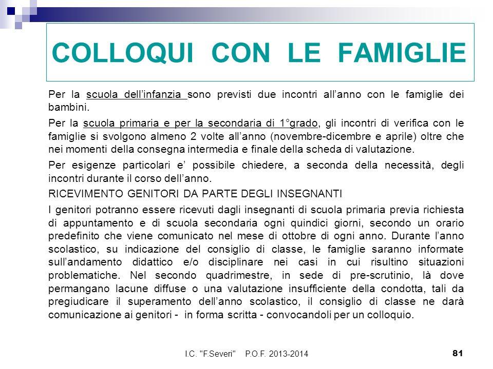 COLLOQUI CON LE FAMIGLIE