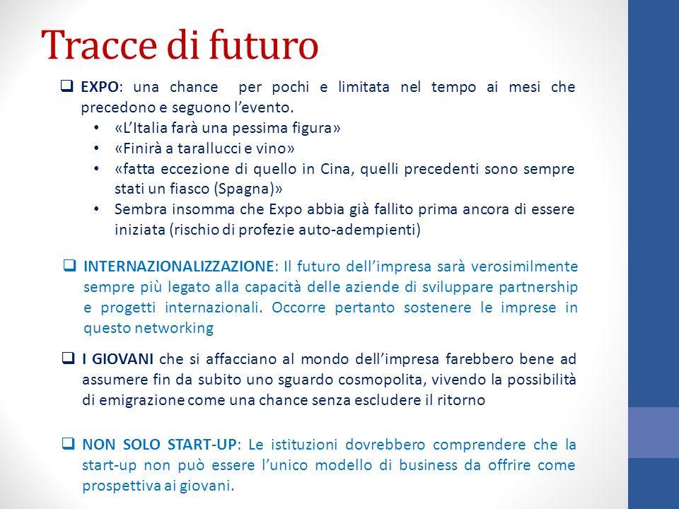 Tracce di futuro EXPO: una chance per pochi e limitata nel tempo ai mesi che precedono e seguono l'evento.